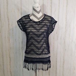 Maurices cut out blouse navy blue w/fringe S/M
